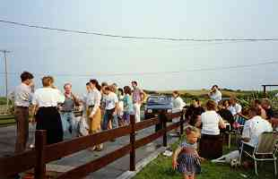 Informal dancing outdoors in Spanish Point during the 1989 Willie Clancy Summer School. Photographed by Kevin McMahon.