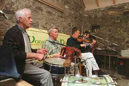 The Four Courts Ceili Band in Vaughan's Barn, Kilfenora, September 1999 - Martin Garrihy, Peter Griffin, Joe Rynne and Seamus Hynes.