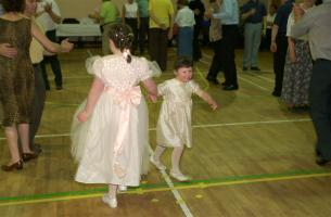 Two of the groom's nieces joined in the dancing in Castletown.