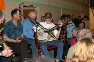 This twelve-year-old lad impressed everyone with his mature handling of the banjo when he played in a break.