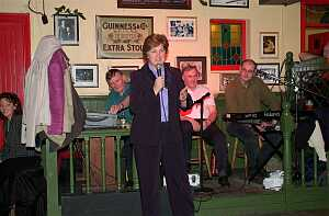 The National President of the ICA, Breda Raggett, sang a song on Sunday night in the Yard Bar.
